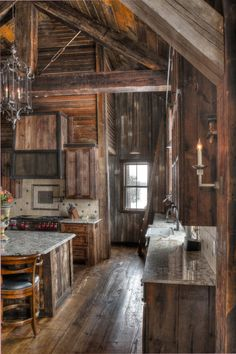 Rustic Kitchen with lots of wood! Rustic Exterior, Cottage Exterior, Exterior House Colors, Rustic Kitchen Design, Farmhouse Style Kitchen, Barn Conversion Kitchen, Log Home Kitchens, Rustic Cabin Kitchens, Mountain Home Exterior