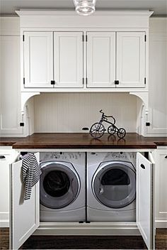 """hidden"" washer and dryer For dream kitchen/laundry room"