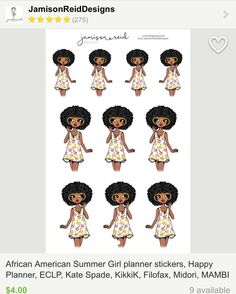 The moment you ask for a special request and the shop owner exceeds your expectations by 100!!! Look at this precious African-American summer planner girl sheet by Jodi over at @jodi.tenzer. She-is-to-die-for! I just placed my order and you should too. For today only she is having 20% off new releases until (8pm tonight prices already reduced)  Thanks again Jodi! I can wait to get her in my planner! #blackgirlsrock #plannergirl #plannergoodies #plannerstickers #etsy #estyseller…