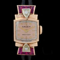 Gruen Precision Veri-Thin 14K Gold Art Deco Watch with diamonds and rubies (=)