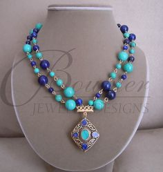 Victoria  Blue Lapis Lazuli and Turquoise by BouvierJewelry, $140.00