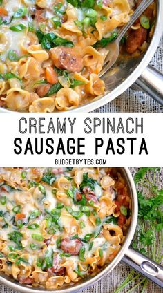 Creamy Spinach and Sausage Pasta is an easy one pot meal for quick weeknight dinners. @bugetbytes