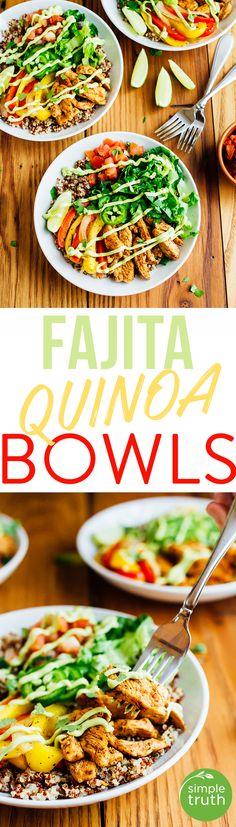 Chicken Fajita Quinoa Bowls made in partnership with @krogerco