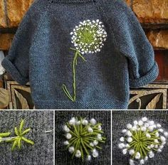 Knitting and crochet Embroidery Art, Embroidery Stitches, Embroidery Patterns, Knitting Patterns, Sewing Patterns, Embroidery Fashion, Knitting Projects, Diy Clothes, Upcycled Clothing