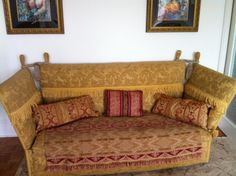 Large Victorian 1800 1899 Antique Gold Knole Sofa. Circa 1860. Great  Condition