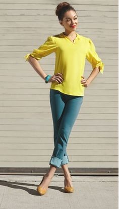 yellow blouse + teal/turquoise jeans