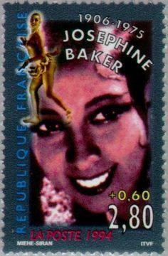 Stamp: Joséphine Baker (1906-1975) (France) (Actors) Yt:FR 2899,Mi:FR 3046,Sn:FR B658,Sg:FR 3221,AFA:FR 3152 Josephine Baker, African American Makeup, Jackie Brown, Money Notes, Postage Stamp Art, African American History, American Women, Black History Facts, 1975