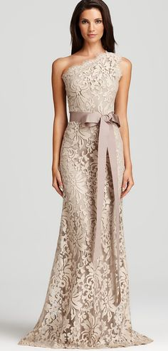 Tadashi Shoji Lace Gown - One Shoulder Women - Dresses - Bloomingdale's Mother Of Groom Dresses, Mothers Dresses, Older Bride Dresses, Mother Of The Bride Dresses Tea Length, Long Mothers Dress, Mob Dresses, Bridesmaid Dresses, Formal Dresses, Wedding Dresses