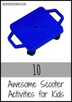 10 Awesome Scooter Activities for Kids. Pediatric OT shares activities and the skills involved. - Tap the pin if you love super heroes too! Cause guess what? you will LOVE these super hero fitness shirts! Gross Motor Activities, Movement Activities, Gross Motor Skills, Therapy Activities, Music Activities, Work Activities, Sports Activities, Pediatric Occupational Therapy, Pediatric Ot