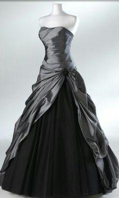 Wedding dress in color on pinterest black wedding for Dark grey wedding dresses