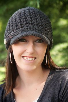 Women's Brimmed Beanie  Charcoal Grey by OliJAccessories on Etsy, $25.00