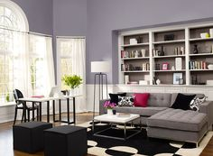 Blue/Grey colours with accents Benjamin Moore Paint Colors - Blue Living Room Ideas - Light, Low-Key Living Room - Paint Color Schemes Black And Silver Living Room, Living Room Grey, Living Room Interior, Living Room Decor, Interior Paint, Color Interior, Living Room Color Schemes, Living Room Designs, Living Spaces