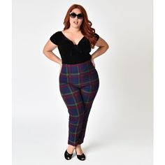 Collectif Plus Size Navy Darling Check Bonnie High Waist Cigarette... ($58) ❤ liked on Polyvore featuring pants, capris, plus size stretch pants, high waisted stretch pants, high waisted pants, plaid pants and high-waisted pants