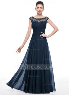 A-Line/Princess Scoop Neck Floor-Length Ruffle Beading Appliques Lace Sequins Zipper Up Cap Straps Sleeveless No 2015 Other Colors Spring Summer Fall General Plus Chiffon Mother of the Bride Dress