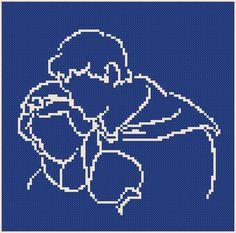 Simple Cross Stitch, Cross Stitch Charts, Counted Cross Stitch Patterns, Easy Cross, Disney Princess Silhouette, Snow White Dwarfs, Perler Bead Disney, White Crosses, Tapestry Crochet