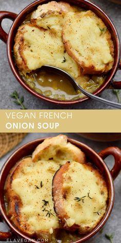 Delicious Vegan Recipes, Vegetarian Recipes, Cooking Recipes, Vegan Soups, Vegan Dishes, Vegan French Onion Soup, Onion Soup Recipes, Caramelized Onions, Easy Meals