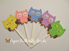 Hey, I found this really awesome Etsy listing at https://www.etsy.com/listing/196340367/12-owl-cupcake-toppers-choose-color