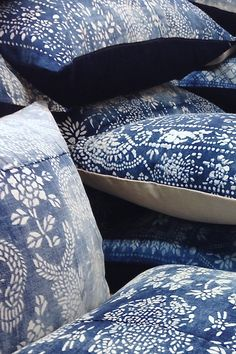 LuRu Home Vintage Chinese Indigo Batik (or Nankeen) Pillows