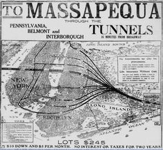 trains to massapequa from the city to bring immigrants out to long island to settle.  this map is quite a piece of history.