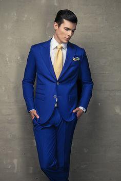 2-button slim fit royal blue suit