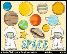 Space Explorers - Commercial Use, Digital Image, Png Clipart - Instant Download - Shoe String Kid Series - Solar System, Astronaut, Planet