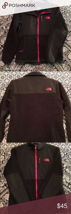 Women's Fleece North Face This North Face fleece jacket is a size large with a tight fit -Worn a few times but in great shape  -Black with pink decal (zippers)  -100% Recycled Polyester The North Face Jackets & Coats