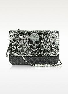 Philipp Plein  Crystal Skull Quilted Leather Shoulder Bag