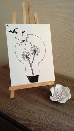 Affiche Illustration Noir et blanc ampoule pissenlit