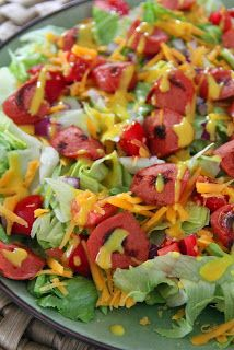 Hot Dog Salad With Honey Mustard Dressing (S with stevia instead of honey)