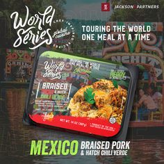 World Series RTE Meals; Globally Inspired. Grab your passport, pack your bags, & travel the world with Jackson & Partners one country at a time. Every new discovery enriches our lives & we are excited to introduce you to our new line of ready-to-eat meals from the US; inspired by Mexico. #readytoeatmeals #worldseriesglobalcuisines #jacksonandpartners #worldseriesglobaltour Burger Recipes, Pork Recipes, Seafood Recipes, Hatch Chili, Eat Meals, Steak Rubs, Homemade Burgers, Braised Pork, World Series