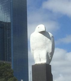 "Museum icon? (Not associated with a museum) [Hannes Berger (@bergermonkey) on Instagram: ""#bunjil still managing to watch over the entrance to Melbourne...just...""]"