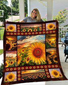 American Staffordshire Terriers, Sunflower Quilts, Sunflower Fields, Sunflower Crafts, Customised Gifts For Birthday, Customized Gifts, 3d Quilts, Quilting, Panel Quilts
