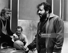 Italian actor Bud Spencer (Carlo Pedersoli) talking to some extras on the set of the film Watch Out, We're Mad. Rome, 1974
