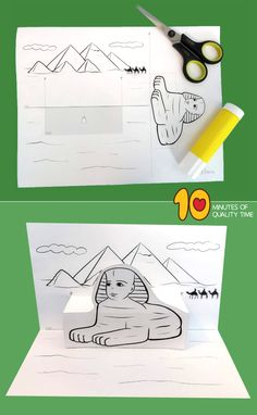 The Pyramids of Giza and the Sphinx Craft Art History Lessons, History For Kids, Art Lessons For Kids, Ancient Egypt Activities, Ancient Egypt Crafts, Fun Activities For Kids, Crafts For Kids, Teachers Day Card, Paper Pop