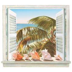 Trompe L'Oiel Palm Tree And Shell Window Accent Mural