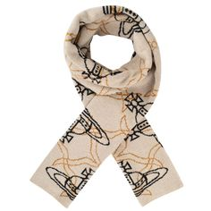 VIVIENNE WESTWOOD   orb logo scarf   Max Mara, Vivienne Westwood, Alexander Mcqueen Scarf, Beige, Logo, Scarves, How To Make, Gift Ideas, Polyvore