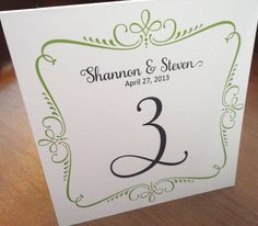 Table Numbers for Wedding or Event - ornate - set of 10. $15.00, via Etsy.