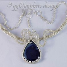 Sterling Silver Woven Wire and Vivianite Necklace with Handmade Chain