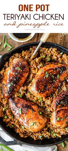 One Pot Teriyaki Chicken and Pineapple Rice | http://www.carlsbadcravings.com/one-pot-teriyaki-chicken-and-pineapple-rice/
