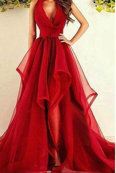 V-Neck Prom Dresses,Long Prom Dresses,New Fashions Long Prom Dress, Red Evening Dress, Organza Prom Dresses, Sexy Formal Evening Gowns,Sleeveless Prom Gown, Prom Dresses