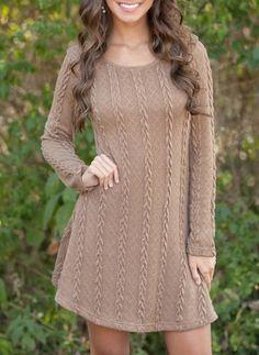 VITIANA Women Causal Plus Size Short Sweater Dress Female Autumn Winter White Long Sleeve Loose knitted Sweaters Dresses Cable Knit Sweater Dress, Long Sleeve Sweater Dress, Sweater And Shorts, Knit Dress, Sweater Dresses, Sleeved Dress, Loose Sweater, Brown Sweater, Wrap Dress