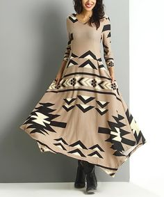 Love this Mocha Southwest Handkerchief Maxi Dress by Reborn Collection on #zulily! #zulilyfinds