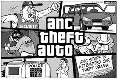 Cartoons by Miles: September 2015 - Stealer's wheels - Just a local story about 3 ANC officials doing some after hours self enrichment. Well, if No. 1 can do it, why can't they?  Grand Theft ANC
