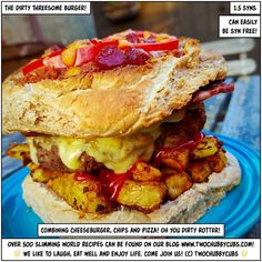 For when you can't choose between a bacon cheeseburger, pizza or chips, the dirty threesome burger will fill your hole! It combines all three! GASP. PLEASE LIKE AND SHARE! Tonnes more Slimming World meals - over 500 at the last count - all sorted by syn and ingredient. Plus: we're pretty funny, apparently. Come and see!