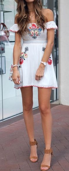 summer outfits Off Shoulder Embroidered Dress + Brown Sandals