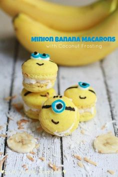 Minion Banana Macarons with Coconut Buttercream Frosting @FoodBlogs