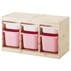IKEA - TROFAST, Storage combination with boxes, pine white/pink, , A playful and sturdy storage series for storing and organizing toys, sitting, playing, and relaxing.The frame has several grooves, so you can place boxes and shelves where you want them, and change them any time.Low storage makes it easier for children to reach and organize their things.