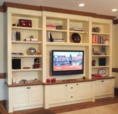Great entertainment center from www.autu…, Great entertainment center of www. Home Entertainment Centers, Entertainment System, Custom Entertainment Center, Kitchen Design Gallery, Living Room Built Ins, Muebles Living, Wooden Counter, Floating, Built In Shelves