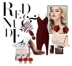"""""""Red and Nude"""" by sylviega ❤ liked on Polyvore featuring Jimmy Choo, Burberry, Chanel, Bobbi Brown Cosmetics, Michal Negrin, Givenchy and Chloé"""