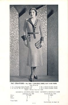 Vintage Stitch-O-Rama Free Pattern Emporium: The Stratford--One-Piece Dress, Hat and Purse, 1933